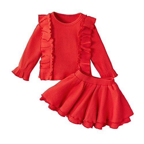 Sunnymi - Jersey de Punto para bebé, para niña, Tops sólidos, Falda, Ganchillo, Jersey, Ropa, Ropa Rojo 70 cm