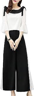 レディーズ 夏の新スタイル ファッション ワイドレッグパンツ シフォンスーツ 遊び心 洋風 女神ファン ツーピースセット ワイドレッグパンツ 余暇 ファッションスーツ S-2XL
