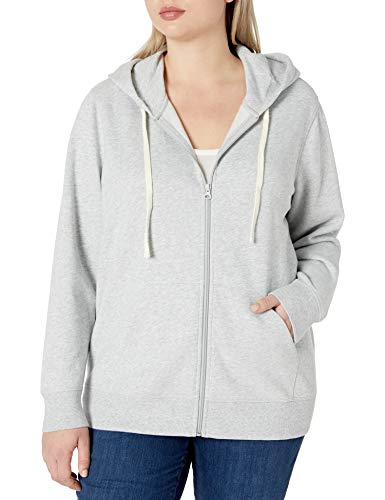 Amazon Essentials Plus Size French Terry Fleece Full-Zip Hoodie Fashion, Gris Clair Chiné, XL Grande Taille