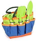 Small Foot 12015 Gartentasche kompakt, aus Holz und Metall, mit 3 Gartenwerkzeugen, Gartenspielzeug für Kinder ab 3 Spielzeug, Mehrfarbig