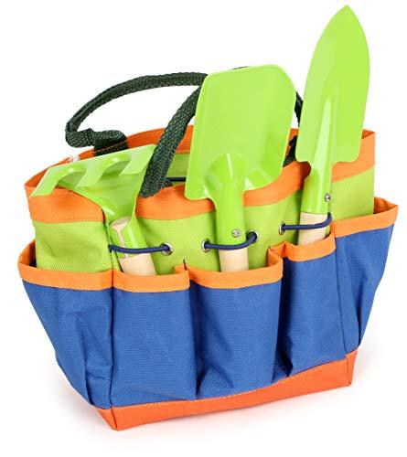 Small Foot 12015 Gartentasche kompakt, aus Holz und Metall, mit 3 Gartenwerkzeugen, Gartenspielzeug für Kinder AB 3 Jouet, Multicolore