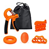 GEHARTY Hand Grip Strengthener Forearm Grip Workout Kit (5-in-1 pack) with Adjustable Resistance