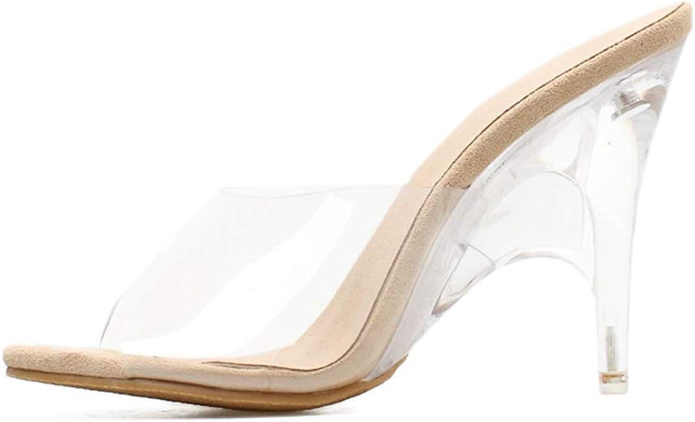Btrada Women Transparent Sexy Sandals Wedges High Heels Crystal Thin Heel Fashion Ladies Slippers