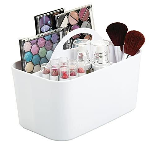 mDesign cesta organizadora con 4 compartimentos para sus cosméticos - Cesta plastico provista de asa para un cómodo...