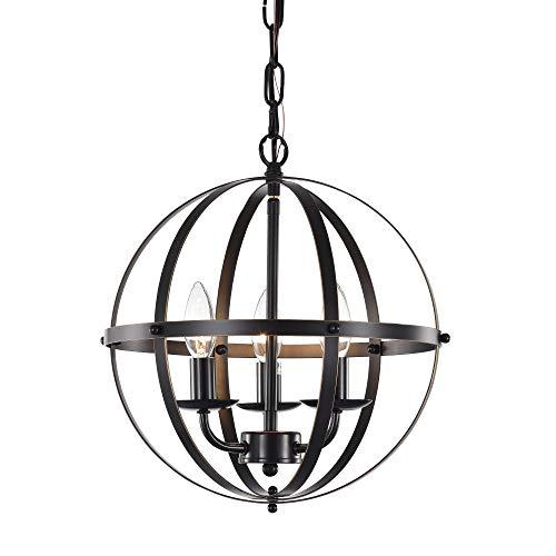 Kugel Kronleuchter 3-Lampe Hängeleuchte Kugelförmige Pendelleuchte Deckenlampe Retro in Bronze für Schlafzimmer, Esszimmer, Badezimmer