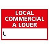 Panneau Immobilier Local Commercial à Louer avec Oeillets aux 4 Coins - Rouge - Plastique Rigide AKILUX 3,5mm - Dimensions 600x400 mm - Livré avec Une Planche de Chiffres - Protection Anti-UV
