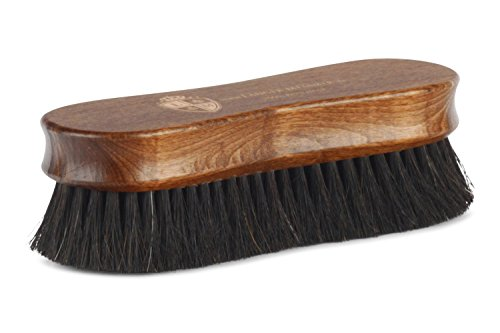 Langer & Messmer cepillo de zapatos Premium fabricado con pelo de caballo negro para abrillantar zapatos: el cepillo lustrador de primera calidad para el cuidado profesional de los zapatos