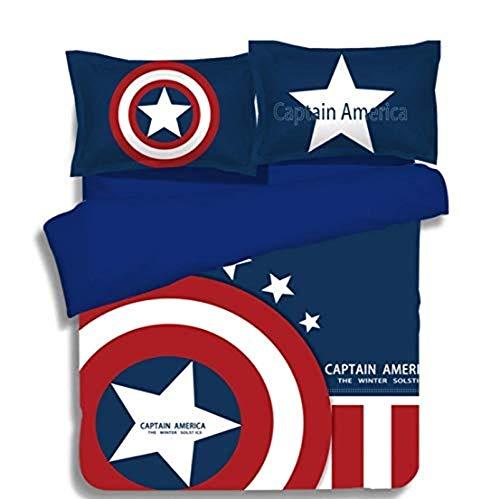 SL-YBB Marvel - Juego de ropa de cama infantil, diseño del Capitán América (3 piezas, 1 funda nórdica y 2 fundas de almohada)