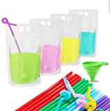 Acerich 100 Pcs Drink Pouches with Straws Stand-Up Hand-Held Translucent Reclosable Heat-Proof...