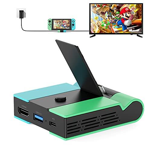 TV Docking Station für Nintendo Switch, Knofarm Tragbare Switch TV Dock 4K HDMI Adapter Ladegerät mit Type C, USB 3.0 Port, Faltbare Switch Docking Station Set