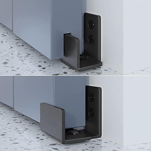 EaseLife Sliding Barn Door Bottom Floor Guide,U Shape,Flexible Adjustable Fit Distance,Flush Flat Bottom Design,Wall Mount System,for Door & Cabinet,Black
