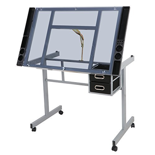 ZENY Glass Top Adjustable Draft Table