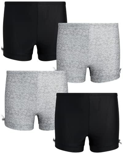 Laura Ashley Girls' Active Play Shorts - Under Dress Dance and Cartwheel Shorts (2 Pack), Grey/Black, 10-12