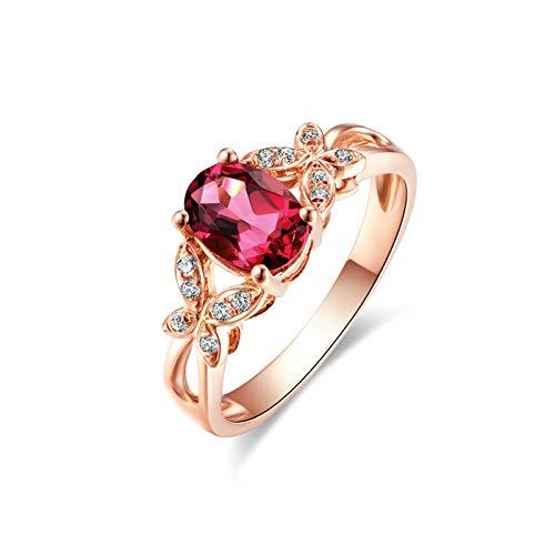 Daesar Anillos de Oro Rosa Mujer 18K,Anillos Mujer Oro Rosa y Diamante Oval con Mariposa Turmalina Roja 0.6ct Diamante Blanco 0.06ct Anillo Talla 9,5