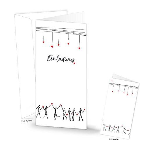 10 hartjes-uitnodigingskaarten in zwart/wit/rood hart opvouwbare kaarten uitnodigingen met envelop zelf maken bruiloft jubileum verjaardag doop communie team housewaring DIN lang