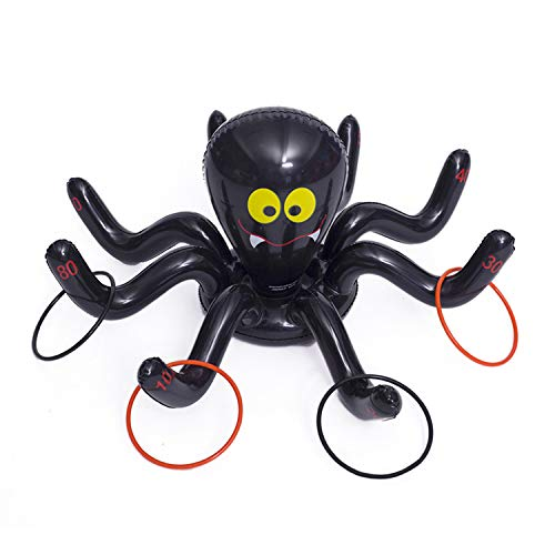 Tragbare Aufblasbare Spinne Ring Werfen Spiel Spielzeug mit 4 STÜCKE Ringe für Kinder Erwachsene Halloween Hausgarten Schule Klassenzimmer Beach Party Supplies