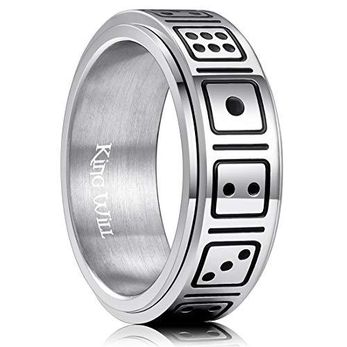 King Will 8mm Mens Titanium Wedding Band Dice Pattern Spinner Ring 7