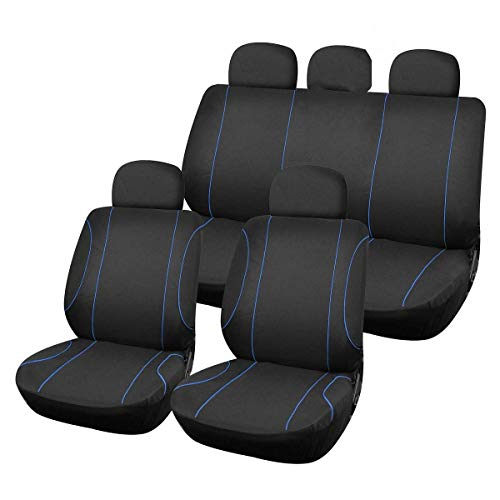 DEALBUHK JIAXIAOYAN 9pcs Universal Car Seat Cover Set Auto Front/Rear Chair Headrest Mesh Fabric Cushion Protector Automobiles Interior Accessories ,Comfortable and Breathable (Color Name : Blue)