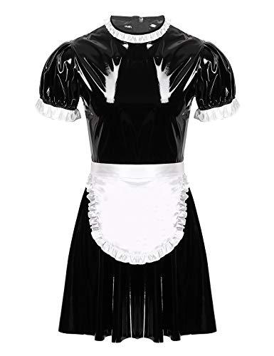 FEESHOW - Disfraz de sirvienta francesa para hombre, cuello redondo, manga corta, acampanada con delantal
