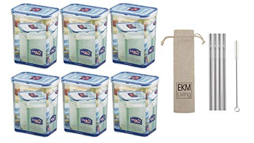 EKM Living Lock & Lock 6er Set HPL813 Multifunktionsbox 1800ml, Frischhaltebox, Vorratsdose + Gratis 4er Set Edelstahl Trinkhalme