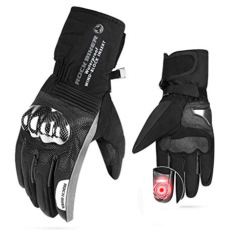 Motorcycle Winter Gloves Men Carbon Fiber Gauntlet Gloves Touch Screen Riding Windproof Water Resistant Men Women Warm ATV UTV Scooter Snowmobile Skiing Cycling (Black, L)