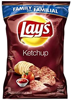 Canadian Lays Ketchup Chips - 1 Family Size Bag - 255grams