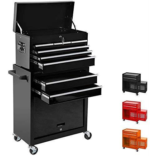 8-Drawer Tool Chest,Rolling Tool Box,Tool Storage Box with Wheels and Drawers,Removable Tool Chest,Tool Cabinet,Large Capacity Tool Box with Lock(Black)