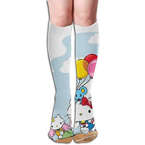 Calcetines casuales para mujer hasta la rodilla, calcetines de algodón suave de Hello Kitty