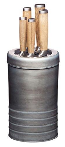 Kitchencraft Industrial Kitchen–Set di coltelli in Acciaio Inox e Blocco portacoltelli