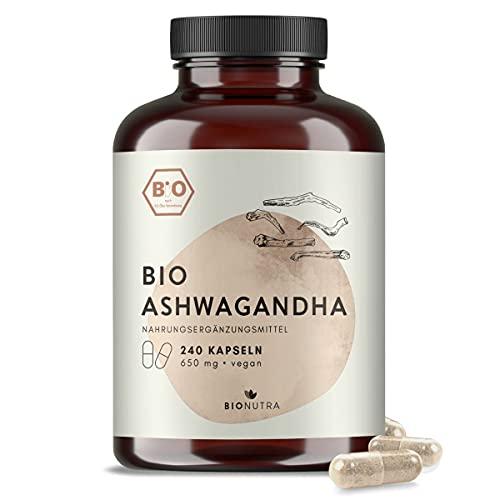 BioNutra® Ashwagandha bio | en gélules | 240 x 650 mg | Agriculture biologique | 100% Végétal | Sans additifs | Boîte en PET recyclé | Fabriqué en Allemagne