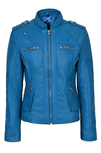 Smart Range Nuevo Mujer 1148 Azul eléctrico Estilo Militar Lujo Casual Real Soft Chaqueta de Cuero Napa