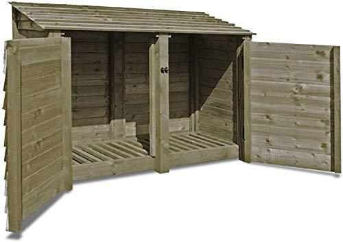 Hambleton 4ft High - Wooden Log Store/Garden Storage - Heavy Duty With Pressure Treated Wood (Solid Doors, Rustic Brown)