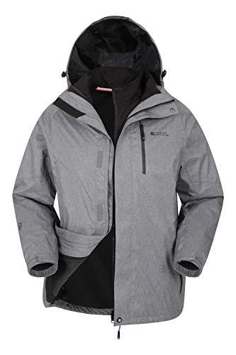 Mountain Warehouse Climb Extreme Chaqueta Impermeable 3x1 Hombre - Chubasquero de Costuras pegadas, Top con Interior Separable, Softshell, cómodo - Verano, Senderismo, Invierno Gris XS