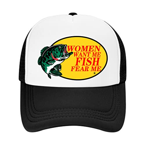 Women Want Me Fish Fear Me Hat for Men Trucker Mesh Baseball Cap Great Fishing Gifts for Mens - for Hunting & Fishing (A-Black, One Size)