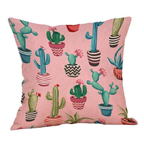 GDDD Fundas de cojín, impresión de cactus Funda de almohada de poliéster suave cuadrado decorativo para sofá, dormitorio, coche con cremallera invisible