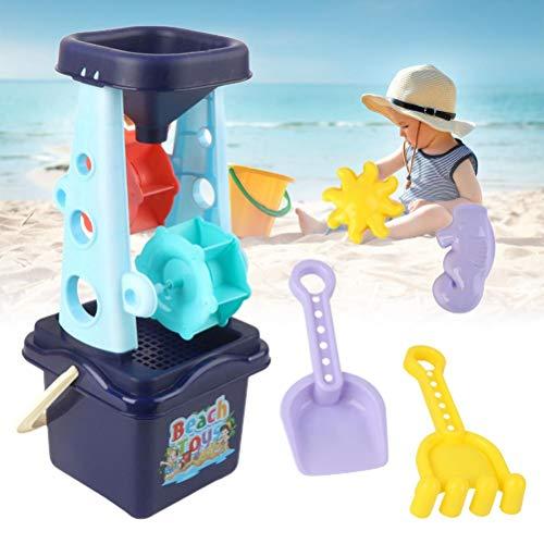 Vssictor Juego de 6 Molinos de Arena y Agua: Rueda de Agua, moldes, Pala y más, Juguetes de Playa para niños, niñas, niños de 1 2 3 años, Arena de Juego para niños (Juego Azul)
