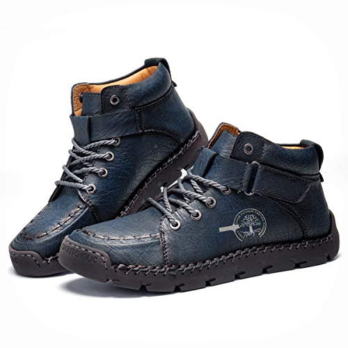 Camfosy Botas chukka para hombre con costuras a mano, botas cálidas con forro de piel sintética de invierno, mocasines con cordones para montar a caballo, azul EU 42