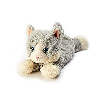 Intelex CP-CAT-4 Warmies Microwavable French Lavender Scented Plush Laying Down Cat, Laying Down Grey Cat