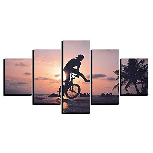 LWJPD Cuadro en Lienzo Pinturas En Lienzo Arte De La Pared Decoración del Hogar Sin Marco 5 Piezas Sunset Bike Boy Poster HD Prints Deportes Extremos Imágenes Sala 60 Inch