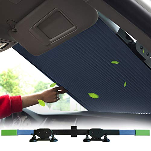 Tysonir Car Windshield Retractable Sun Shade,Car Sun Shade to Keep Your Vehicle Cool Prevent UV Sun into The Car,Fits Windshields of Various Sizes (Standard 62 x 27.5 inches).
