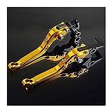 Palanca de la mano Para YAMA-HAS YBR125 YBR 125 2005-2014 Accesorios de moto CNC Palancas de embrague de freno de motocicleta plegables extensibles ajustables Por BYOLPMKK (Color : Gold)