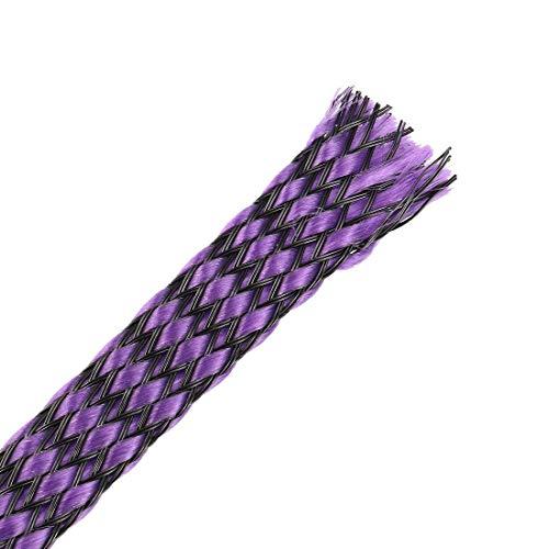 DealMux Funda Trenzada Extensible Pet de 3 pies - 3/8 Pulgadas - Funda de Cable Trenzado 4 Piezas - Púrpura