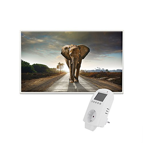 Eldstad Infrarotheizung 600W Thermostat Bildheizung Heizpaneel Infrarot Heizkörper Elektro Heizung mit Motiv (inkl. Thermostat, Elefant)