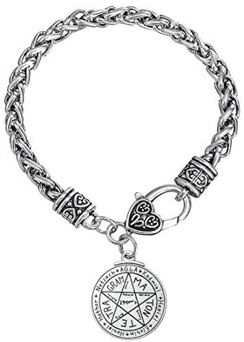 Lemegeton - Pulsera de plata envejecida con diseño de corazón grabado, cadena de trigo para mujeres y niñas