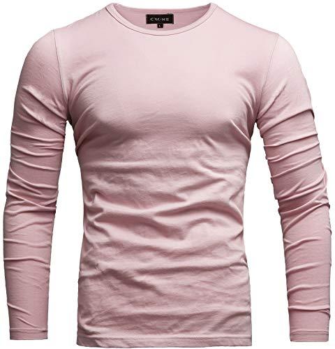 Crone Essential Basic Herren Slim Fit Langarm Rundhals Shirt Longsleeve T-Shirt Sweatshirt in vielen Farben Vegan (M, Rosa)