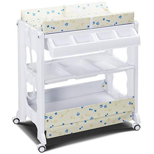 GOPLUS Changing Table Wickelkombination Wickeltisch mit Badewanne Wickelauflage drehbar farbwahl (weiß)