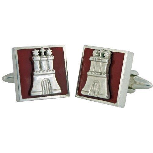 ZAUNICK Hamburg Manschettenknöpfe Silber 925 handgefertigt, rotes Quadrat