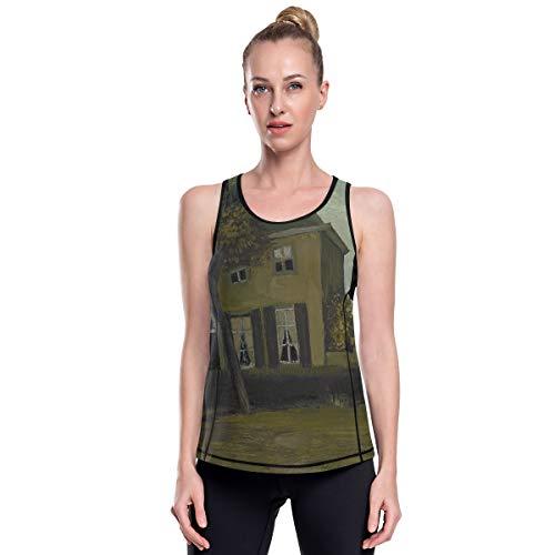 Fantazio Van Gogh Vicarage Vêtements de yoga en maille haut d'exercice Gym Chemises de course - - S