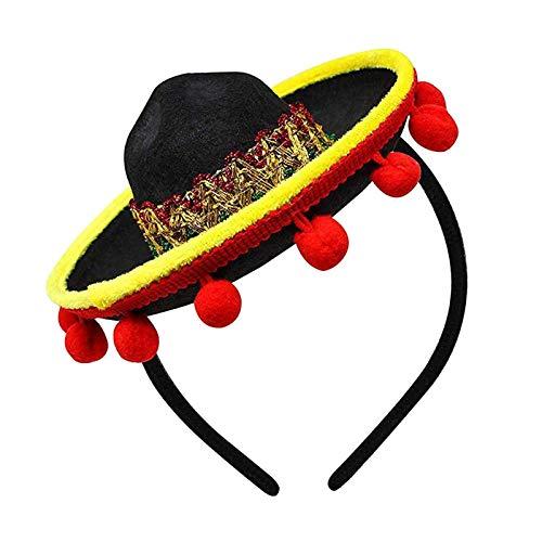 Milageto Diadema de Cinco de Mayo Sombrero-Decoraciones de Sombrero de Fiesta Mexicano-Mini Disfraz de Flecos de Bola roja-Talla nica para Todos - 01