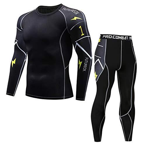 Trainingsanzüge Herren Yoga Fitness Sportanzug Langarm T-Shirts Leggings Zeilendruck Große Größen Sweatshirt Top Sweathose Anzug, Schwarz, 3XL
